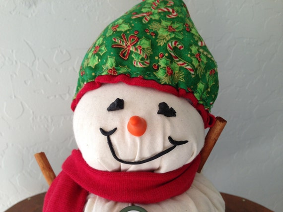 Holiday Snowman Decor Made of Cotton Fabric with a Handsewn Hat and Scarf, Christmas Decor, Snowman