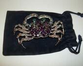 Vintage Rhinestone Crab Brooch - Cancer Zodiac Symbol  Free Shipping in USA  Thanksgiving, Black Friday, Cyber Monday, Christmas
