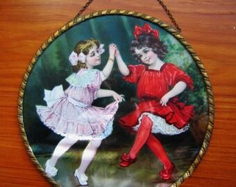Antique EDWARDIAN 1910 FLUE COVER Two Little Girls Dancing Germany Original Vintage Gift