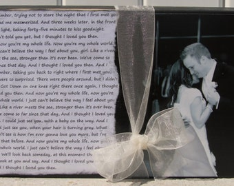 8x10 First dance picture and song lyrics.  Anniversary..Wedding gift..Father's Day..Mother's day