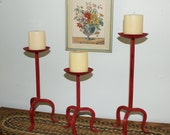 Upcycled Vintage Wrought Iron Pillar Candle Holders, Hand Painted In CeCe Caldwell 'Traverse City Cherry' Red Chalk Based Paint, Set Of 3