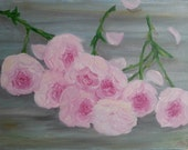 9 Pink Roses Oil on Canvas Painting 11x14""