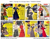 Vintage 1950's Ladies Fashion Ads Collage Sheet digital image magazine advertisements