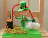 St Patrick's Day Table Top Decor. Cake Topper. Clothespin Doll. Pot of Gold. Over the Rainbow.