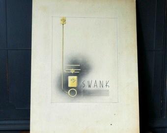 "Vintage Advertising, Original Artwork by ""Severe"", Menswear, Wall decor, Black & White Art"