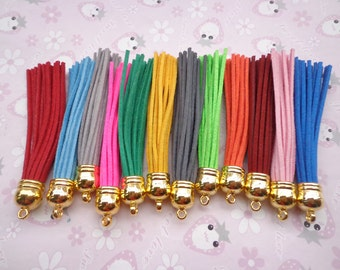 SALE--50 pieces Mixed color (10 color)90mm Suede Leather Tassel With Gold color plastic Cap