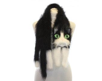 Tuxedo Cat / Knitted Scarf / Fuzzy Soft Scarf / black white сat / cat scarf / knitted cat scarf / Knit scarf / animal scarf