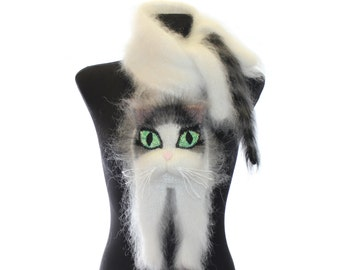 Knitted Scarf / Fuzzy white Soft Scarf / cat scarf /  cat   / white cat with black and grey stripes / animal scarf