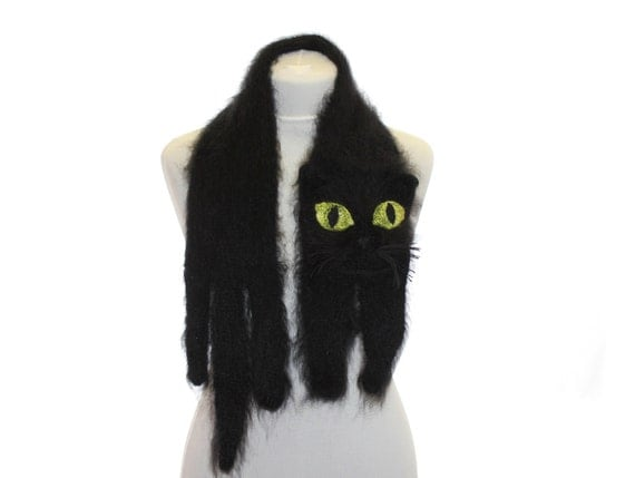 Knitted Scarf / Fuzzy black Soft Scarf / cat short scarf / knit cat scarf / Black cat / animal scarf / halloween