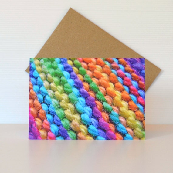 Knitting birthday greeting card Card for knitters! 'Knitted Rainbow' - cute & funny rainbow cards for her Blank photograph cards Australia