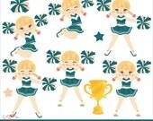 Cheerer Blonde Girl Clip Art  Set