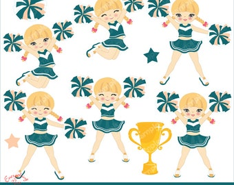 Cheerer Blonde Girl Clip Art  Set