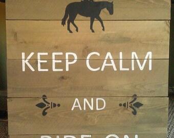 Keep Calm and Ride On Barnwood Sign
