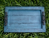 Decorative / Serving Tray - Blue Distressed with Black Glaze Topcoat