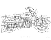 INDIAN WARRIOR TT 1950 -Original Handmade Drawing Fine Print, 11.5x16 in. (29x41 cm), Limited Edition print Classic motorcycle Art Print