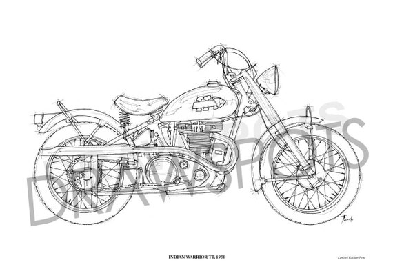 Indian Warrior Tt 1950 Original Handmade Drawing Fine Print