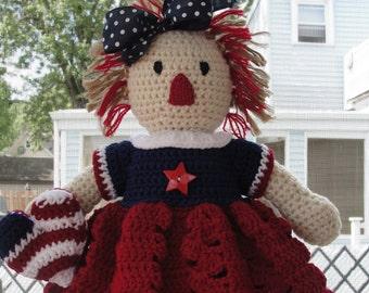 CROCHET PATTERN Doll or Americana Home Decor Patriotic I Love America
