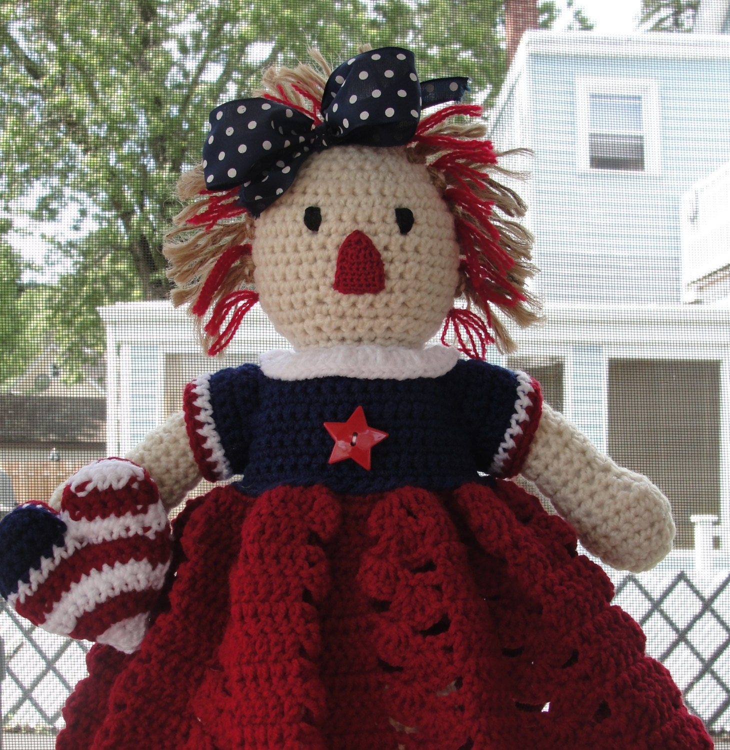 Crochet pattern doll or americana home decor patriotic i love for Patriotic home decorations