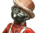 Antique Segregation Black History Cast Iron Black Cigar Smoking Man Figurine