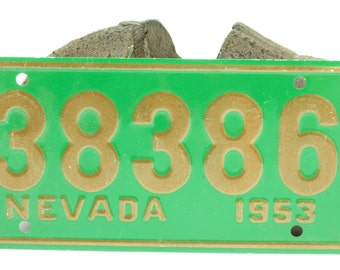Vintage Green and Gold Bicycle License Plate For Nevada 1953
