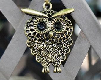 Bronze Reto Vintage Metal Owl Neckless with Rhine Stones