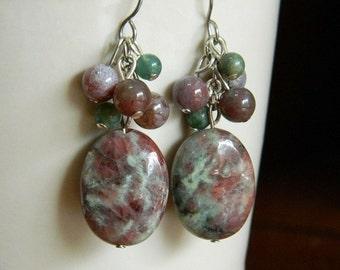 Kashgar Garnet, Fancy Jasper Cluster Earrings - Red, Green, Earthy, Berry, Gemstone
