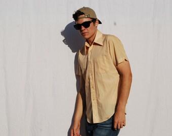 PEACHY 70s Oxford Button Down Short Sleeve Shirt