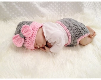 Pink and Grey Baby Girl Diaper Cover Set with Bow