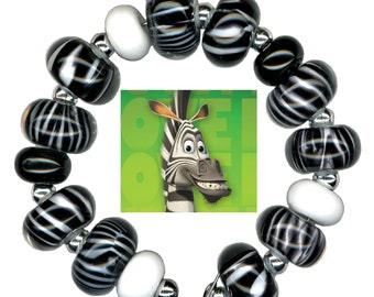 Lampwork Glass Beads Zebra Black White Animal Bead Set
