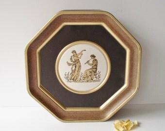 Vintage Cookie Tin, Greek Motif Cookie Tin, Roman Motif Biscuit Tin, Octagonal Cookie Tin, Sewing Tin, Sewing Box, Crafts Storage Tin,