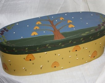 Whimsical folk art bee box willow tree with bee hives