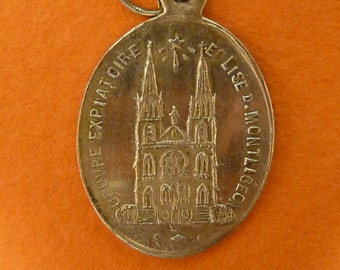 19 th C  solid silver 800 French religious Medal Our Lady of Montligeon Pendant    charm jewelry N1/1