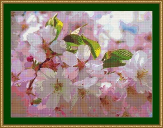 Japanese Cherry Tree Blossom Cross Stitch Pattern /Digital PDF Files /Instant downloadable