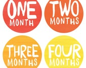 Gender Neutral Baby Monthly Stickers - Rainbow Spectrum Watercolor Monthly Stickers - Months 1-12