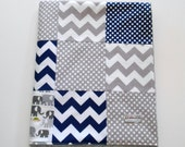 Minky Baby Patchwork Blanket Quilt Navy Gray Chevrons Dots Cloud9 Elephants 2 Sizes--Made to Order