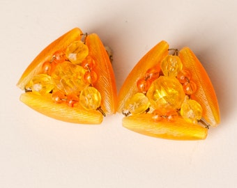 Vintage Orange Bead Clip On Earrings Marked Hong Kong