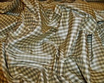 TAPESTRIA FRENCH COUNTRY Gingham Check Silk Fabric 10 yards Sage Cream