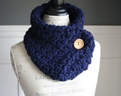 Navy Cowl Neck Scarf with wooden button, crocheted