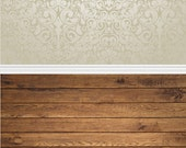 All in One Elegant Damask and Natural Grunge Floor - Vinyl Photography  Backdrop Photo Prop