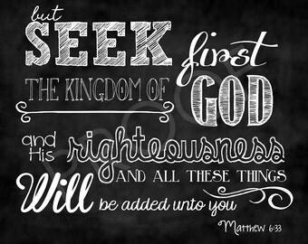 Scripture Art - Matthew 6:33 Chalkboard Style