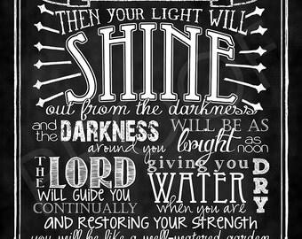Scripture Chalkboard Art - Isaiah 58:10-11
