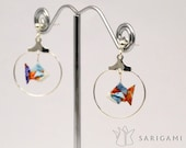 Origami jewelry - Atsuo, an origami fish in its bowl, earrings. Paper beads folded by hand.