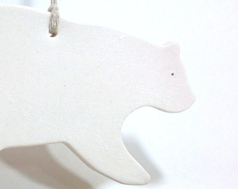Polar Bear White Ornament Minimal Woodland Holiday Christmas Gift Keepsake Decor Porcelain Pottery MADE TO ORDER