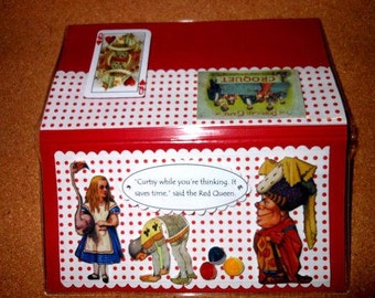 Alice in Wonderland Croquet Red Queen Flamingo  Checkbook Cover - Scrapbooked With Vinyl Cover