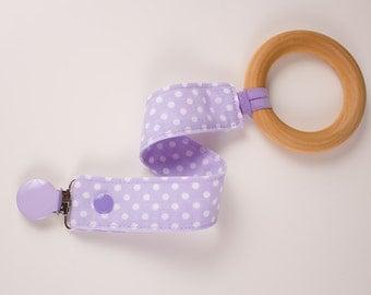 Purple Polka Dots paci clip. Gumdrop Nuk Soothie MAM Avent