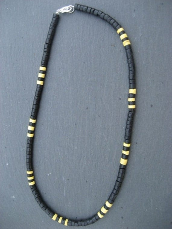 black w yellow heishe coconut shell surfer necklace