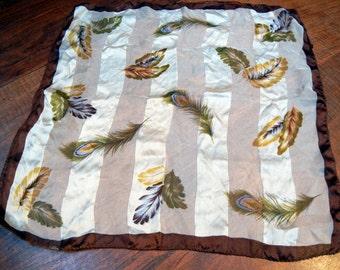 Silk scarf - feathers- vintage