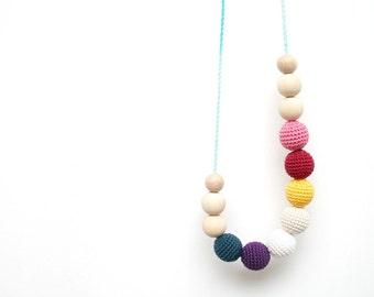 Fairytale Nursing Necklace, Rainbow nursing necklace, Geometric breastfeeding necklace, Teething toy