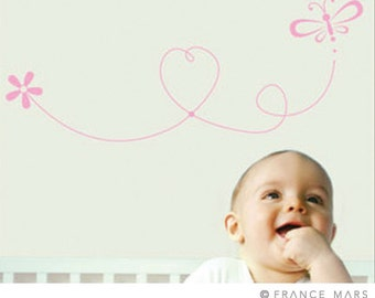 Wall Decals for Baby Nursery Decor - Nature - Pink dragonfly, heart & flowers - Great Newborn Gift