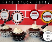 12- Firetruck Cupcake Toppers